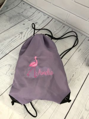 Personalised Flamingo Gym Bag, Swim Bag, Beach bag, bag with Name, Embroidered bag, Flamingo Bag, Flamingo