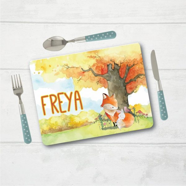 Personalised Placemat, Fox Placemat, Table Setting, Table Place Setting, Mat with Name, Place Setting with Name, Table Mat, Fox